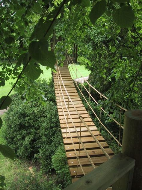 backyard rope bridge plank rope bridge for the home outside pinterest
