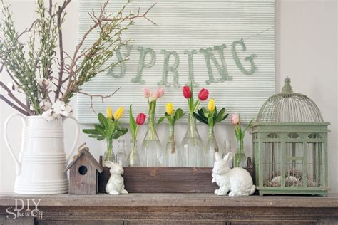 spring decorations for the home spring mantel decorating diy show off diy decorating