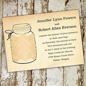 jar wedding invitation templates lace jars rustic wedding invitations iwi261