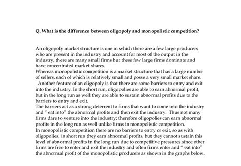 Oligopoly Essay by Monopolistic Competition Essay Essay On Monopolistic Competition Essay On Monopolistic