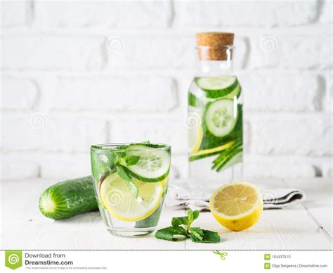 Lemon Mint Cucumber Detox Weight Loss by Infused Detox Water With Cucumber Lemon And Mint Stock