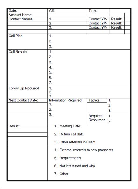 Sales Call Report Template Pdf