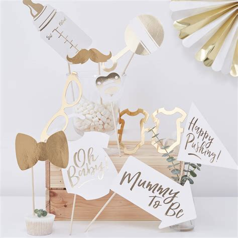 White Gold Photos by White And Gold Baby Shower Photo Booth Props By
