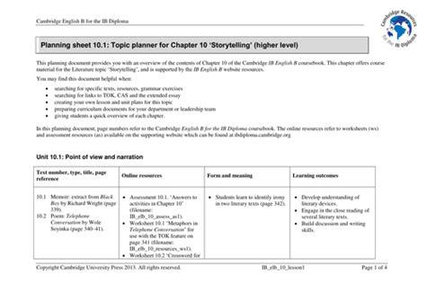 Ib Dp Lesson Plan Template Cambridge Ib English B 10 Storytelling Planning By Cambridgeuniversitypress Teaching