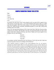 Thank You Letter Sponsorship Gift Sample Thank You Letter For Donation Crna Cover Letter