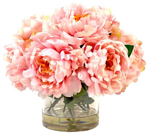 Artificial Peonies In Vase by Peony Bush In Glass Vase Artificial