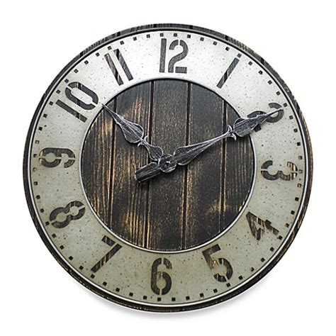 rustic punched metal wall clock bed bath beyond