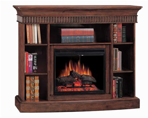 westbury burnished walnut bookcase electric fireplace 23