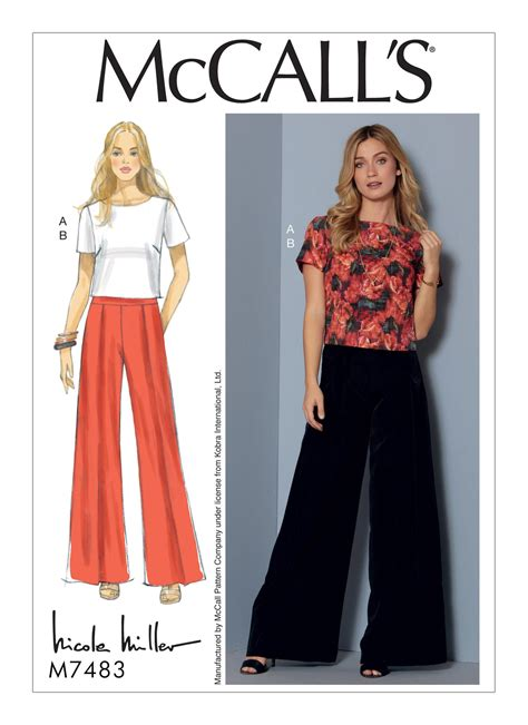 pattern of jeans top mccall s 7483 misses short sleeve top and pleated wide