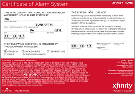 your certificate of alarm system for xfinity home