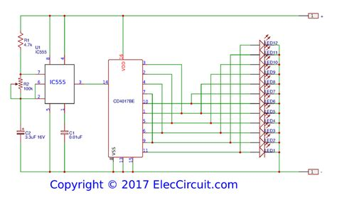 layout rangkaian running led led chaser circuit by ic 4017 ic 555 eleccircuit com