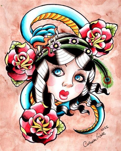 tattoo flash gypsy gypsy snake traditional tattoo flash inspired painting art