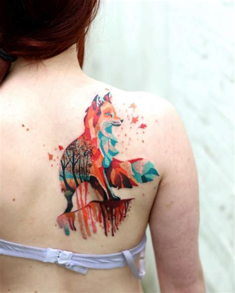 80 beautiful back shoulder tattoo designs fox tattoo