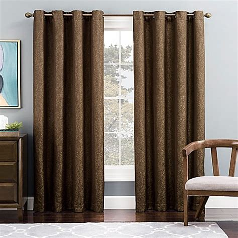 brown grommet curtain panels buy tribeca 63 inch grommet top lined window curtain panel