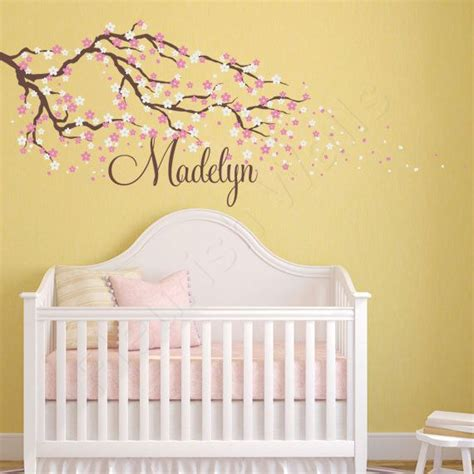 Cherry Blossom Wall Decal For Nursery Cherry Blossom Wall Decal Name Wall Decal Tree Wall Decal With Flowers Baby Nursery
