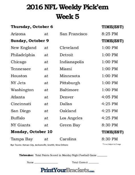 printable nfl league schedule 17 best football 2016 images on pinterest nfl week