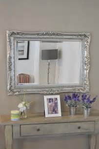3ft2 x 2ft4 97x71cm large silver ornate antique style big wall mirror