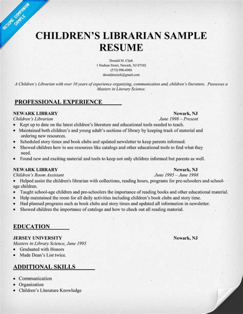 Library Job Resume sample cv academic librarian