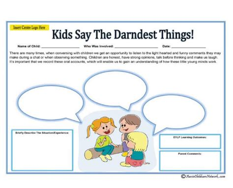 Kids Say The Darndest Things Aussie Childcare Network Child Care Portfolio Templates