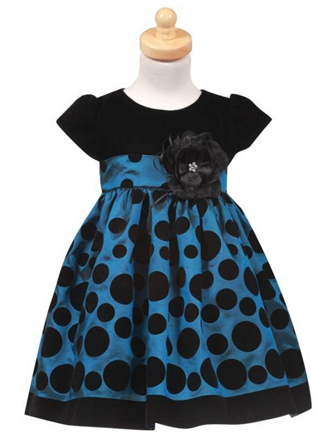 Polka Blue Bergo Busui Ay black velvet bodice with blue polka dot taffeta skirt
