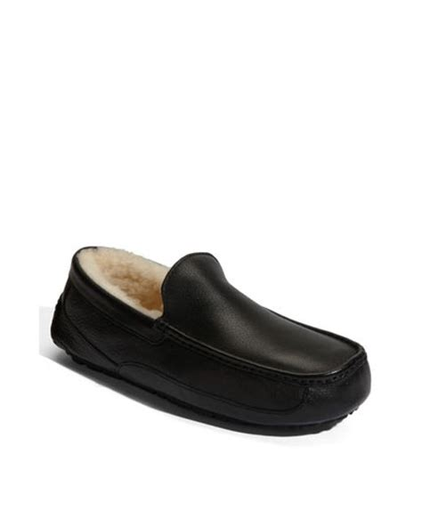 mens ugg ascot leather slippers ugg ascot leather slipper in black for lyst