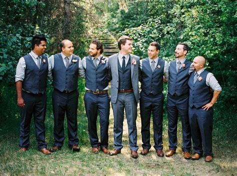 Mens Wedding Attire Vest Only by Blue And Grey Groomsmen Vests Only Brown And