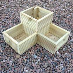 large corner l shaped wooden garden planter box trough herb planters in decking ebay