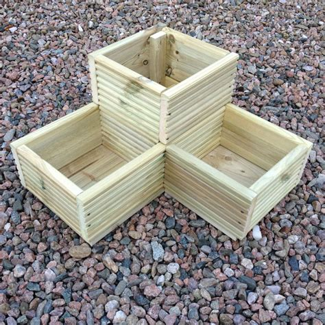 large corner l shaped wooden garden planter box trough