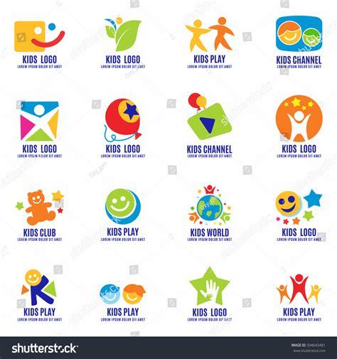 kids logo design stock illustration image of childhood kids signs symbols logo set fun stock vector 594643481