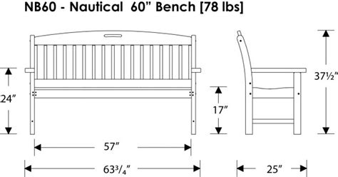 width of bench nautical bench recycled outdoor furniture nb48 60