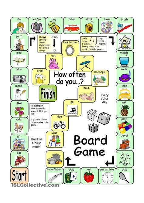 printable games english language learners board game how often english language esl efl