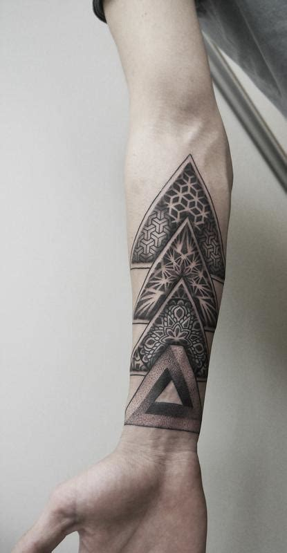 geometric tattoo parlor dotwork geometric forearm tattoo by obi tattoonow