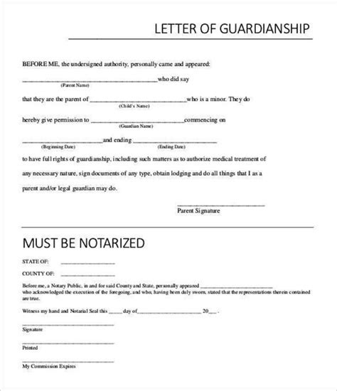 exle temporary notarized letter for guardianship