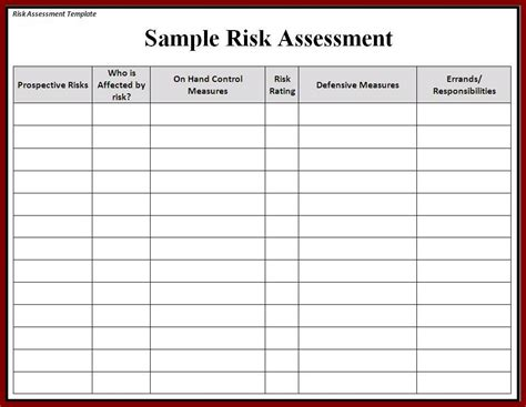 assessment template risk assessment template word excel