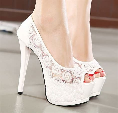 Wedding Shoes High Heels Ivory by S Ivory White Lace Bridal Shoes Wedding