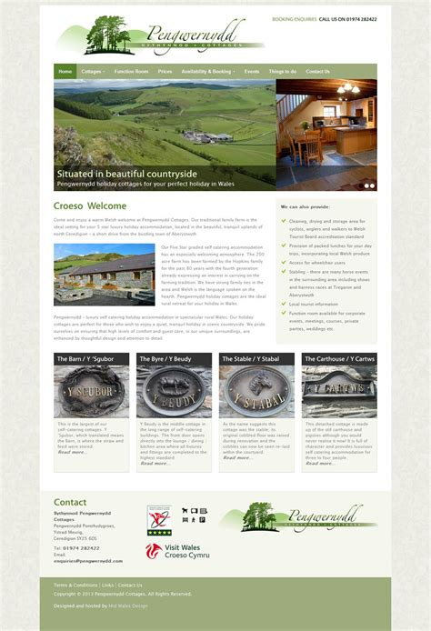cottage websites pengwernydd cottages cottage website mid wales