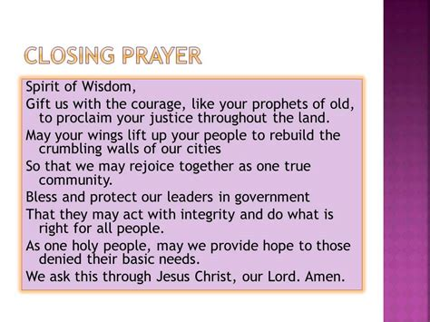 cloaing prayer for christmas progeamme session 5 closing prayer
