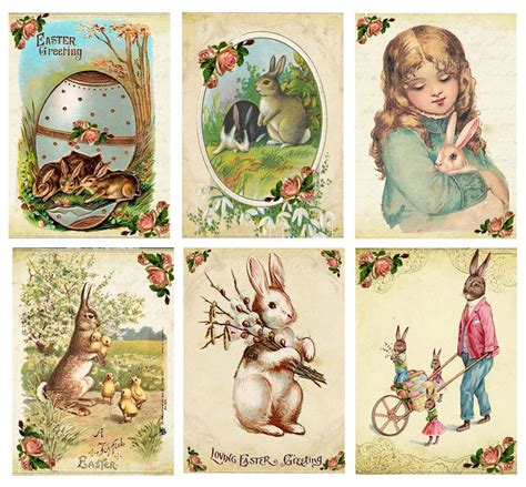 vintage easter 6 bunny rabbit antique pictures note cards
