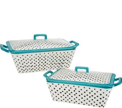 Ny Set Channel Polka mr food polka dot set of 2 ceramic bakers with lids