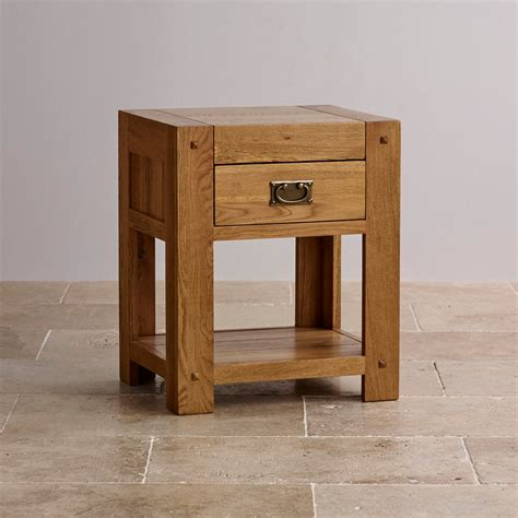 quercus 1 drawer bedside table rustic solid oak