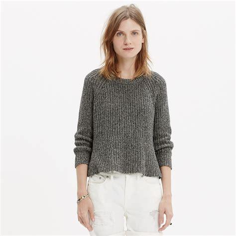 swing sweaters madewell marled swing crop sweater in gray lyst