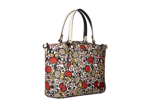 coach floral printed prairie satchel dk chalk yankee floral zappos free shipping both ways