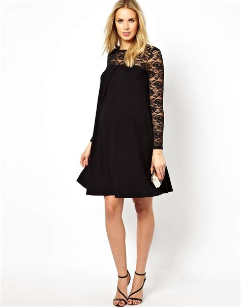 swing dress with lace sleeves asos swing dress with lace sleeves in white lyst