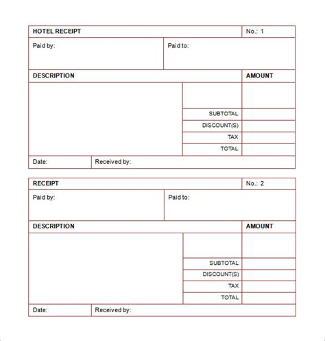 hotel room receipt template receipt template doc for word documents in different types