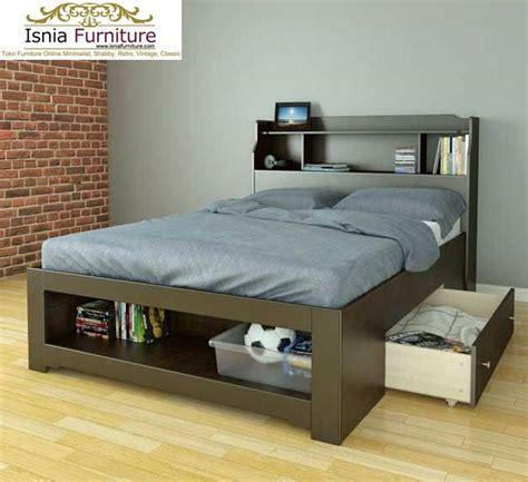 model desain tempat tidur laci bawah minimalis terbaru