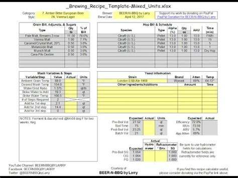 Brewing Spreadsheet by N Bbq By Larry Showing You How It S Made
