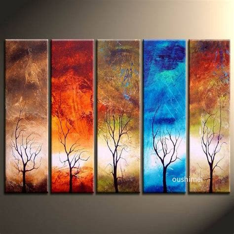 hand painted  panels  shipping landscape wall