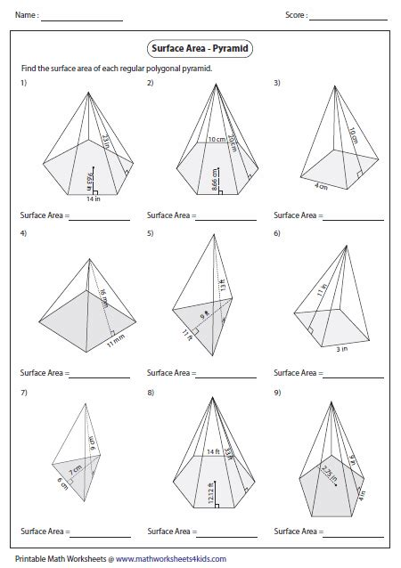 Volume Of Pyramid Worksheet by Surface Area Worksheets