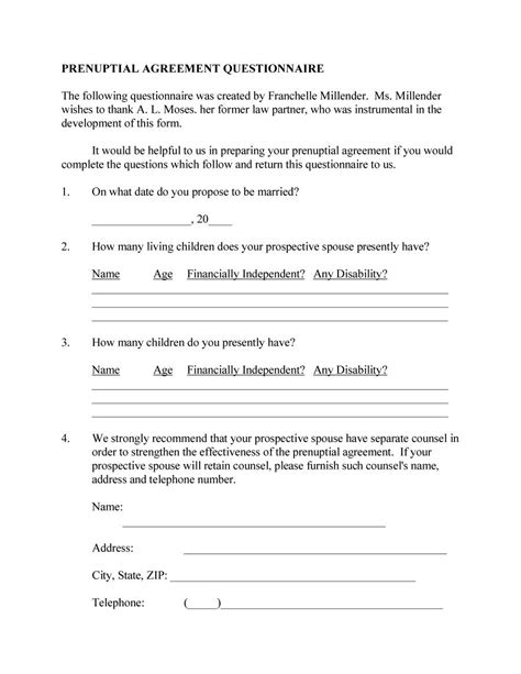 30 prenuptial agreement sles forms template lab