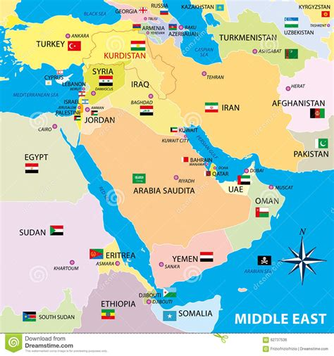 show me a map of the middle east middle east map with borders and flags stock illustration